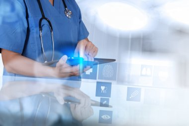 Medicine doctor hand shows tablet computer with medical computer