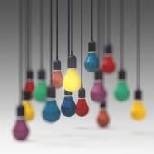 Photo creative idea and leadership concept  colors light bulb