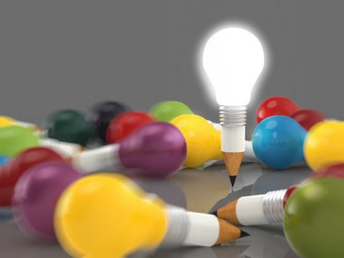 drawing idea pencil and light bulb concept creative and leadersh
