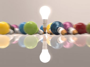drawing idea pencil and light bulb concept creative
