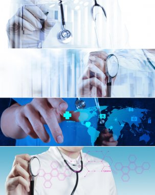 Collage of Various modern medical concept stock vector