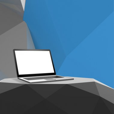 Laptop with blank screen on laminate table and low poly geometri