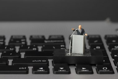 online conference concept-miniature speaker at Business Conferen