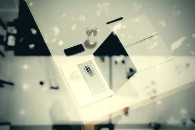 top view of  business documents on office table with digital tab