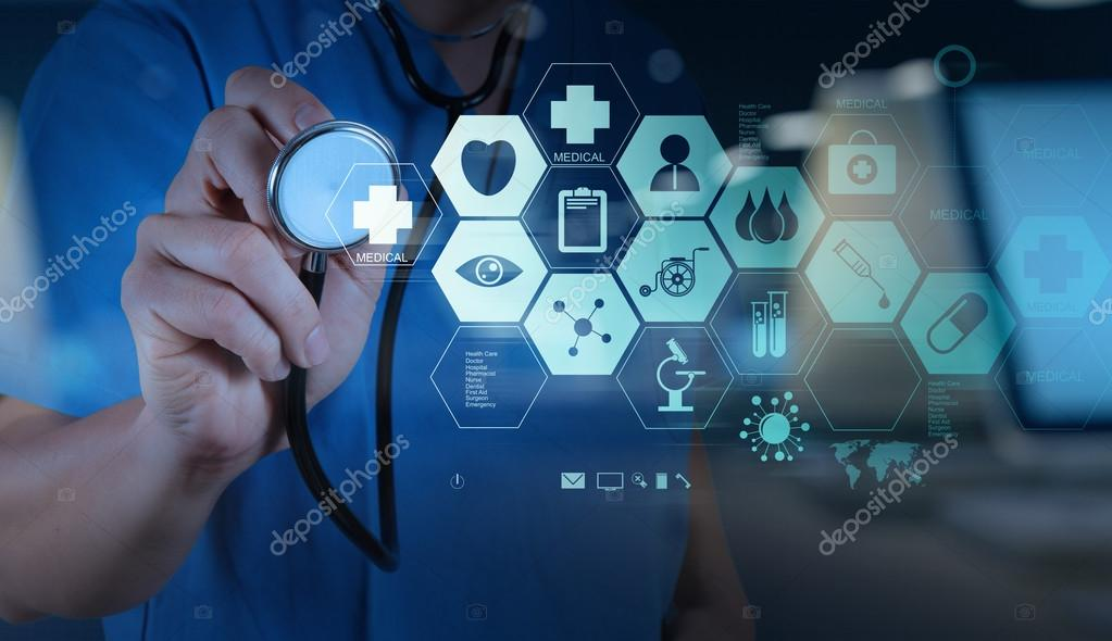 Double exposure of Medicine doctor hand working with modern computer interface as medical concept stock vector