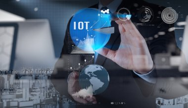 double exposure of hand showing Internet of things (IoT) word di