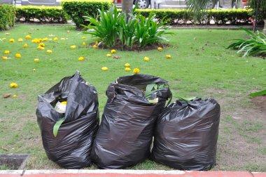 Garbage bags on green yard