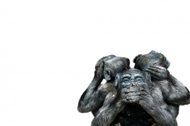 Three wise monkeys or Three Mystic Apes sacred ancient icon isolated on white background with clipping path. stock vector