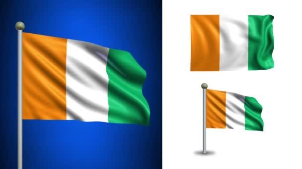Cote slonoviny vlajky - Pobřeží slonoviny - s alfa kanálem, bezešvé smyčka!
