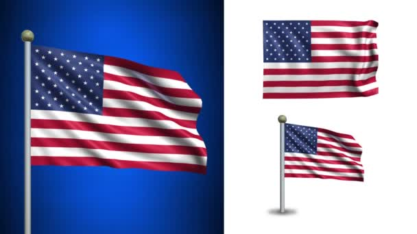 USA - United States of America flag - with Alpha channel, seamless loop!