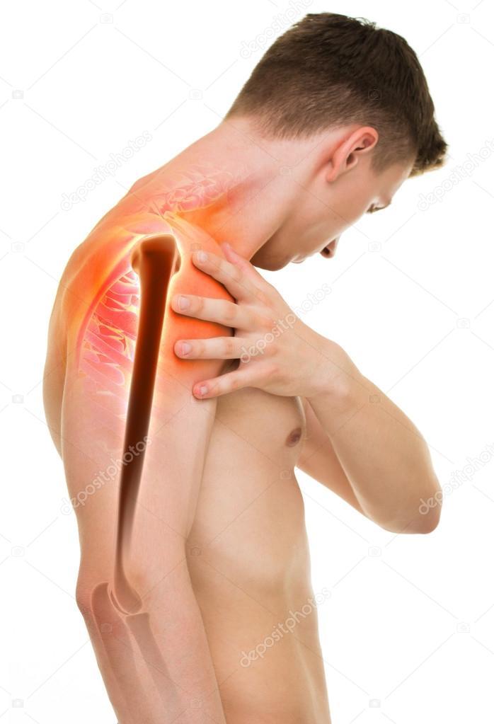 Dolor en el hombro - anatomía masculina hombro manteniendo aislado ...