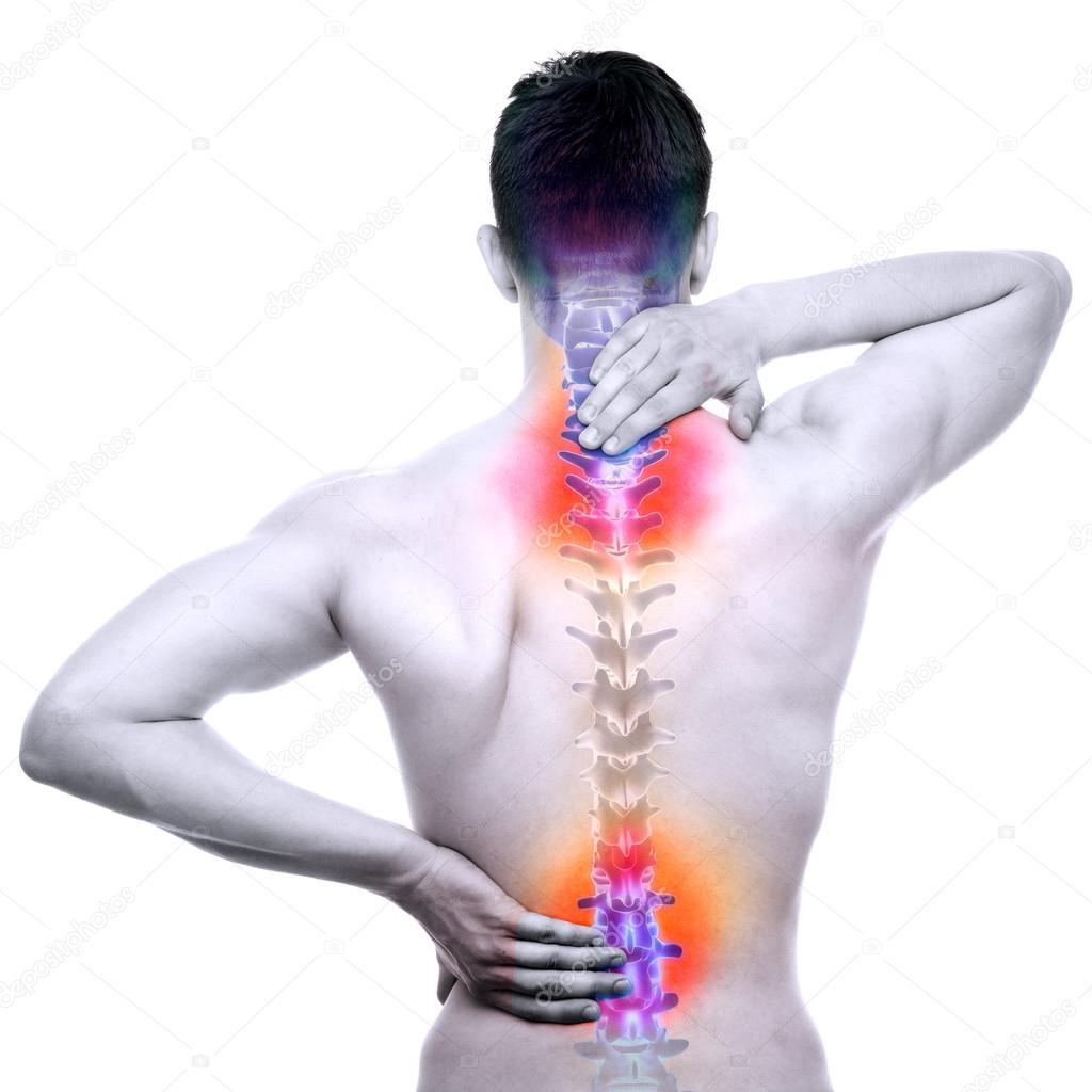 Wirbelsäule Schmerzen - Male weh Backbone isoliert auf weiss - echte ...