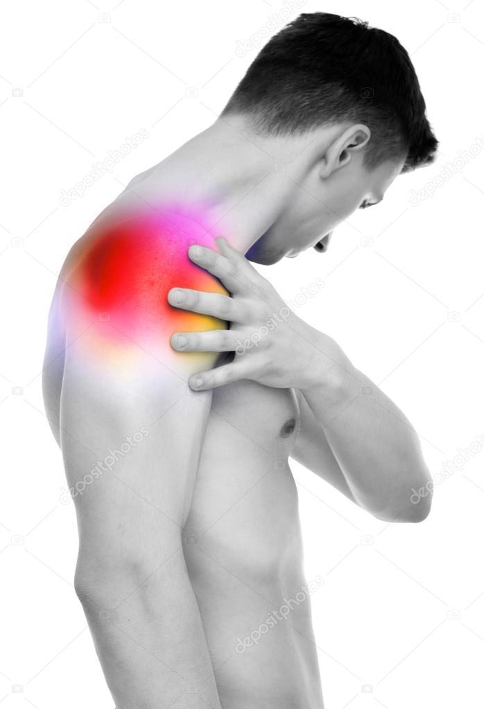 Schulterschmerzen - Anatomie männlicher Holding Schulter isoliert ...