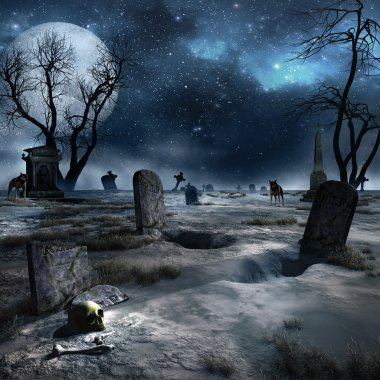 Night scenery with a creepy trees, graves and wolves stock vector
