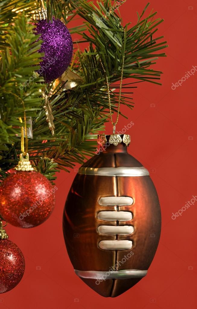 Christmas Football Ornament Hanging On Christmas Tree — Stock Photo - Christmas Football Ornament Hanging On Christmas Tree €� Stock Photo
