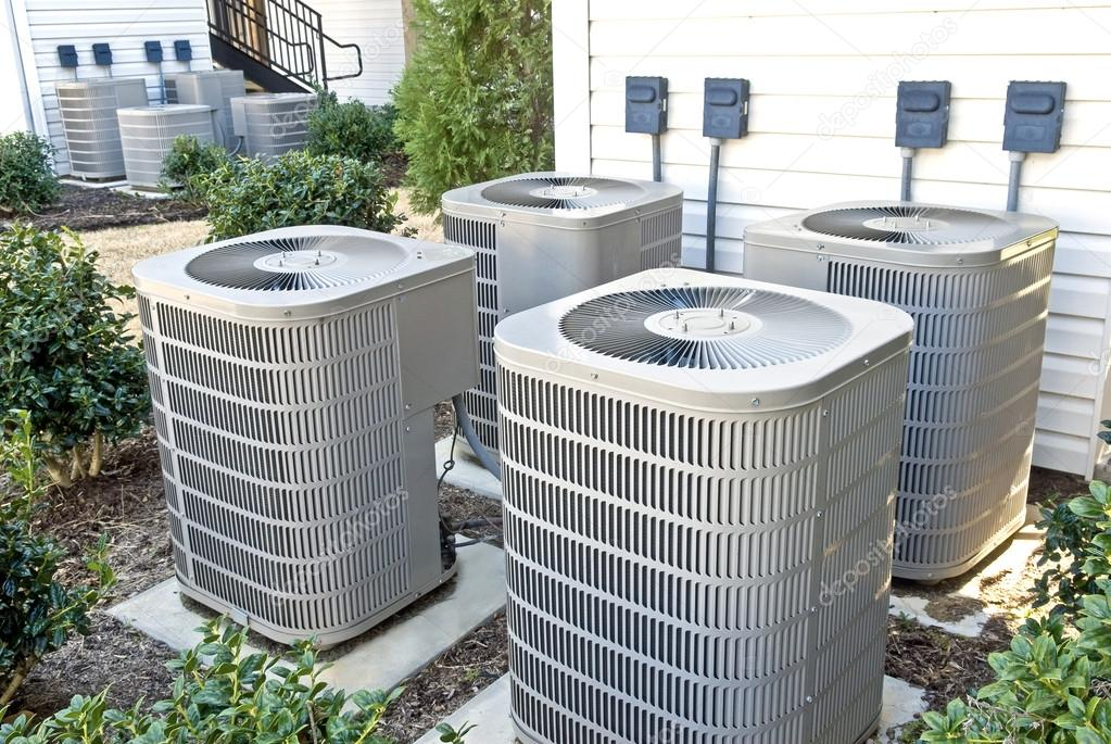Air Conditioning Units At Apartment Complex — Stock Photo ...