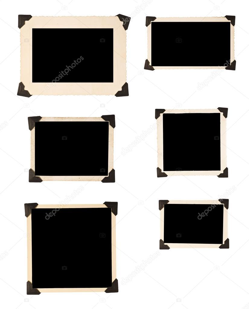 Sechs alte Bilderrahmen mit schwarzen Ecken — Stockfoto ...
