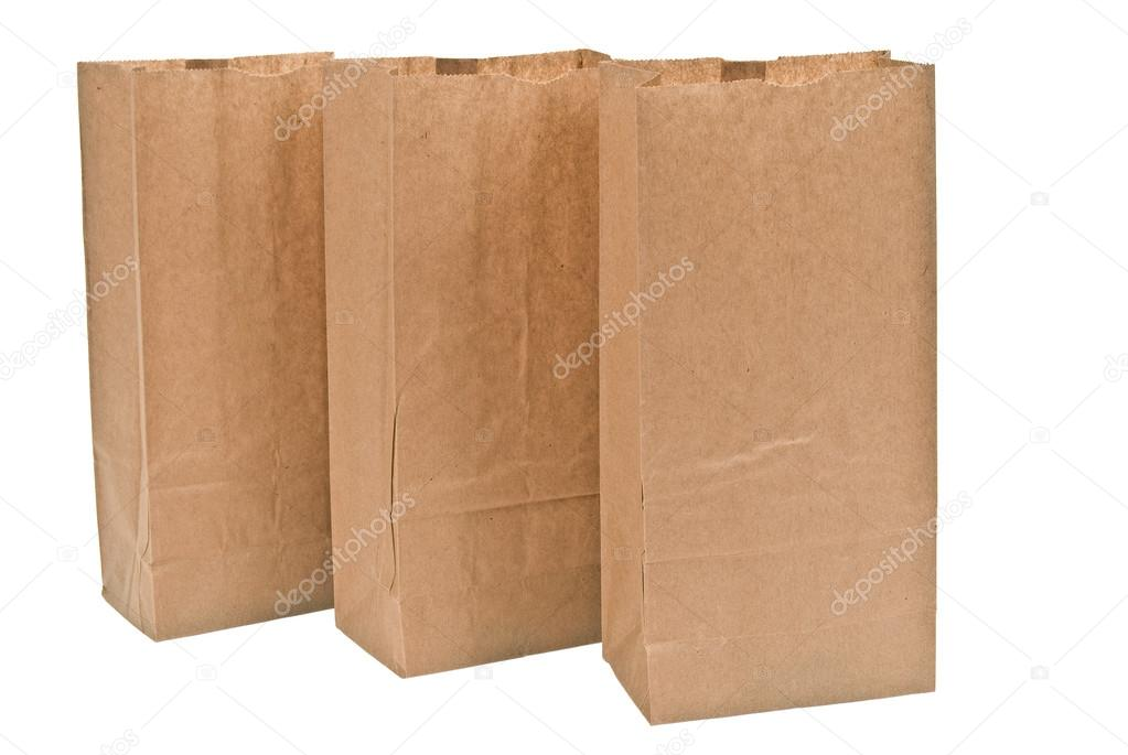 Three Brown Paper Bags Isolated On White