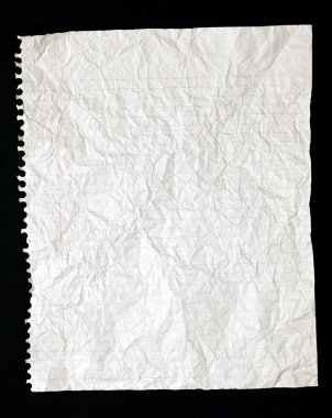 Torn Crinkled Lined Writing Paper From Spiral Bound Notebook.