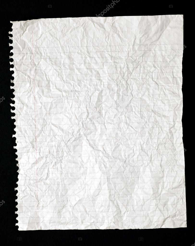 Torn Crinkled Lined Writing Paper From Spiral Bound ...