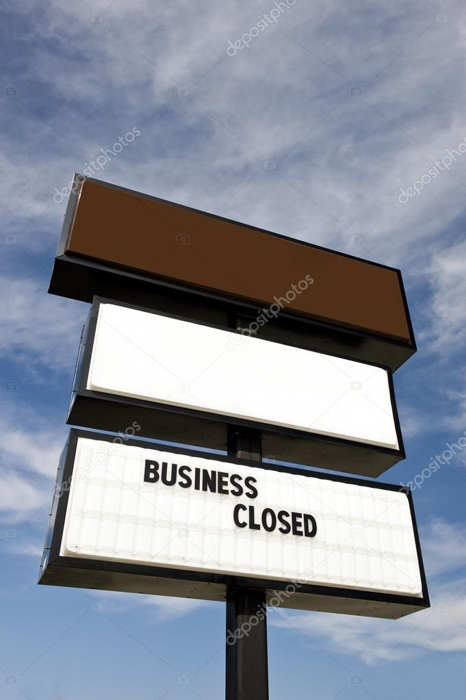 big out of business sign with blank space above for copy stock