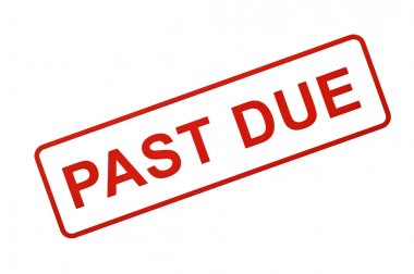 PAST DUE Stamped In Red On White Background