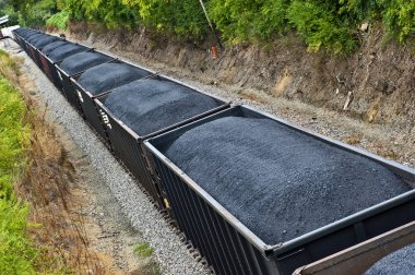 Coal Freight Train Full Of Coal