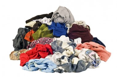 Huge Pile Of Dirty Laundry Isolated On White