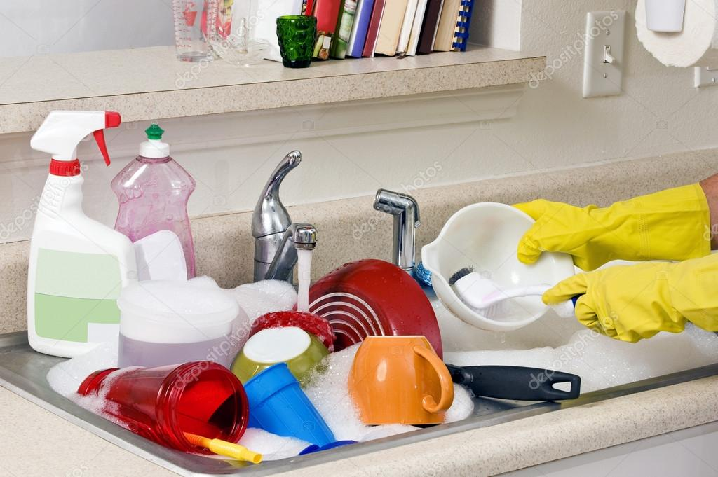 Kitchen Sink With Dishes washing dirty dishes in kitchen sink — stock photo © whitestar1955