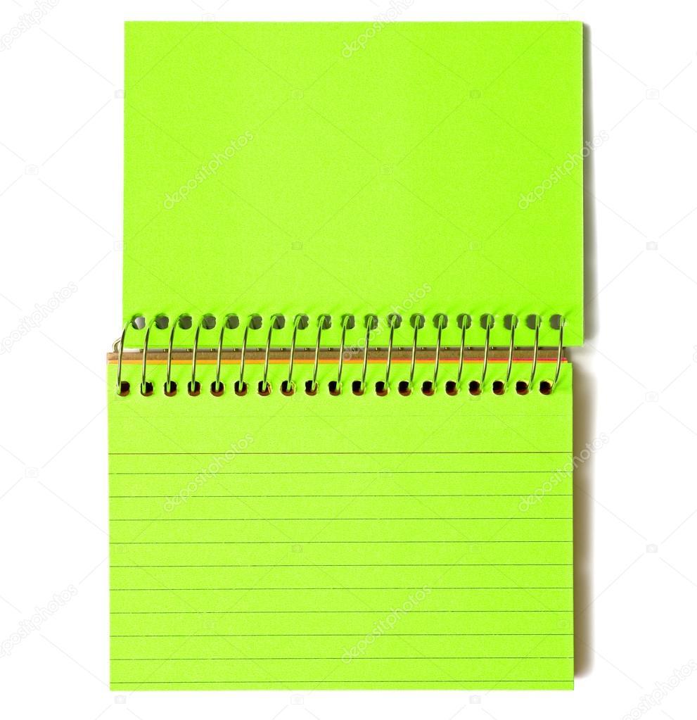 Índice en blanco tarjetas espiral Color verde — Foto de stock ...