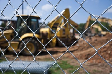 Construction Site With Chain Link Fence