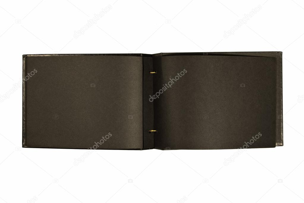 Vintage Black Photo Album With Blank Pages Stock Photo