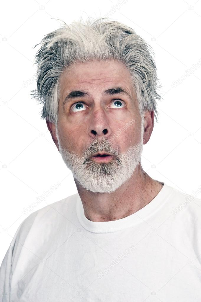 Surprised Old Man Looking Up At Something Stock Photo C Whitestar1955 74464185 At me till i began to feel uncomfortable. https depositphotos com 74464185 stock photo surprised old man looking up html