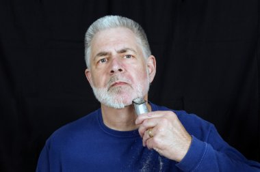 Old Guy Having To Shave Beard