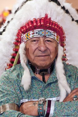 Portrait Of Indian Native American in Full Authentic Headdress