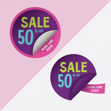 Two round stickers with 50 per sent discount and promo code for web site, for web banners.