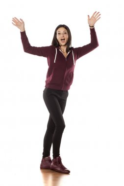 sporty woman waving hands