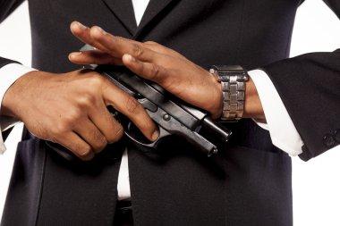 African businessman recharging his gun stock vector