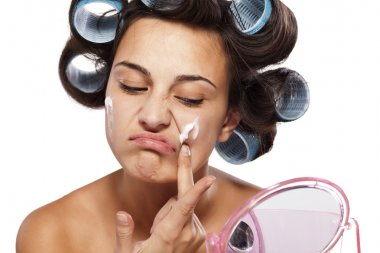 skin care and curlers