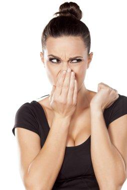Woman checks her breath