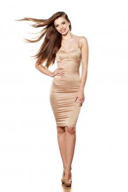 long hair and tight dress