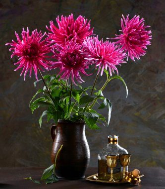 Still life with a bunch of asters