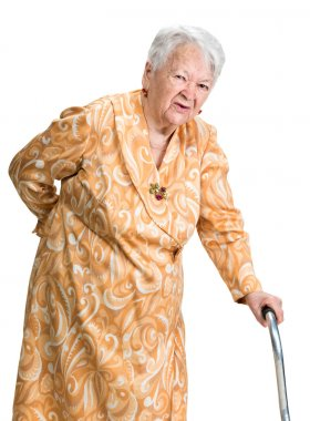 Old woman suffering from low back pain