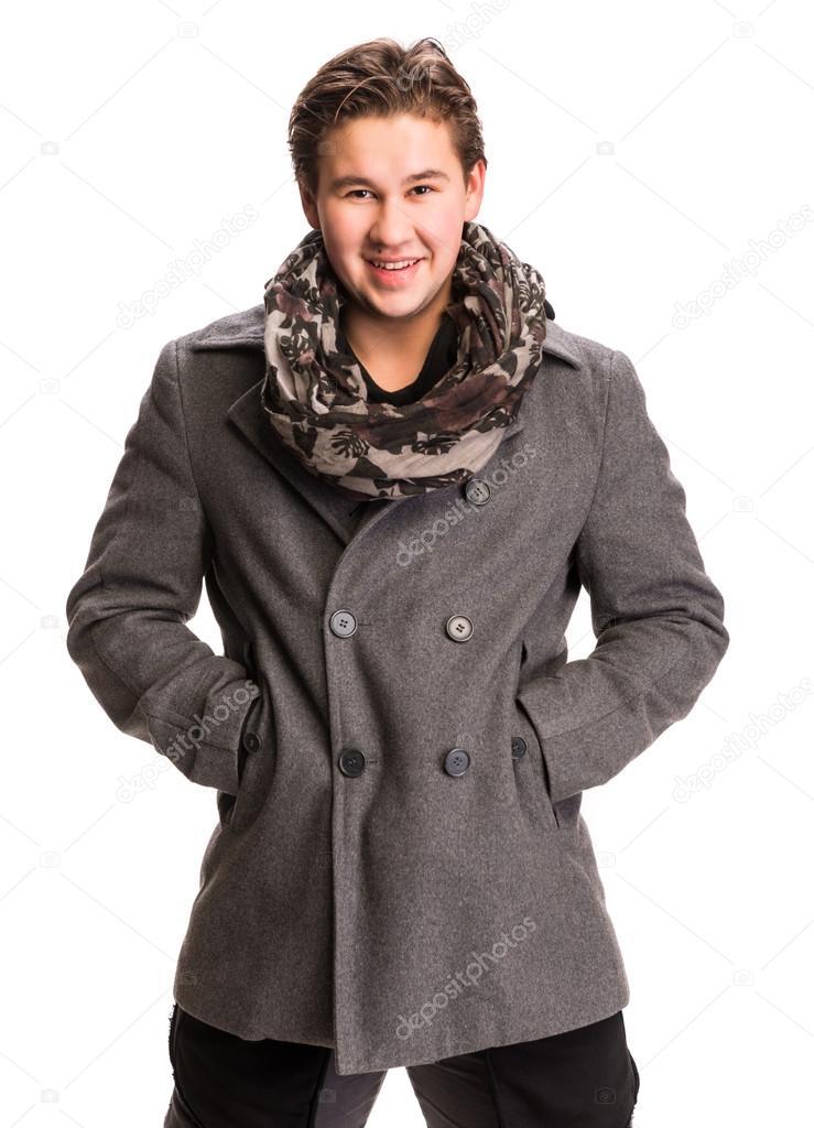 miglior servizio c9263 21299 Ritratto di uomo bello sciarpa e cappotto — Foto Stock ...