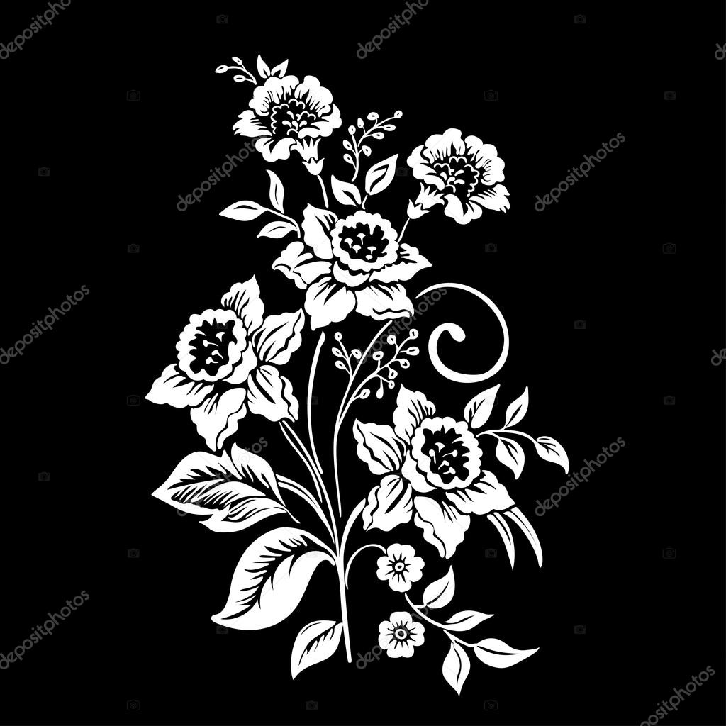 Elegance  pattern with flowers narcissus on black background, vector illustration