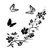 Fényképek gally a cseresznye virágok és a pillangók