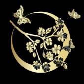 Fényképek gally a cseresznye virágok és a pillangó
