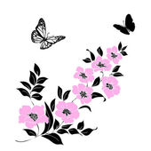Photo twig cherry blossoms and butterflies