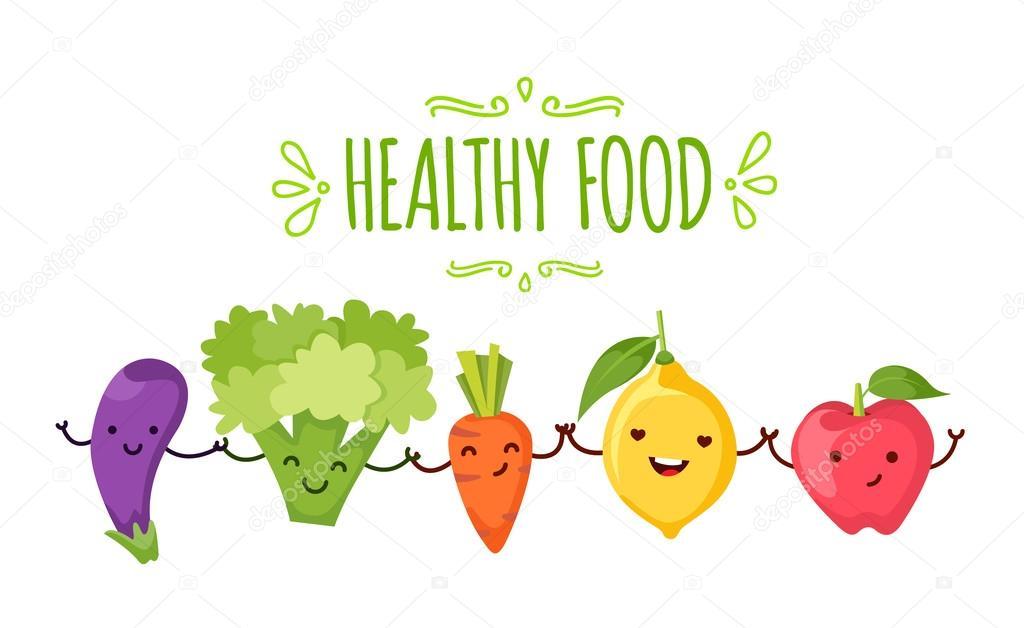Saludable Alimentos De Dibujos Animados Que Representa Archivo