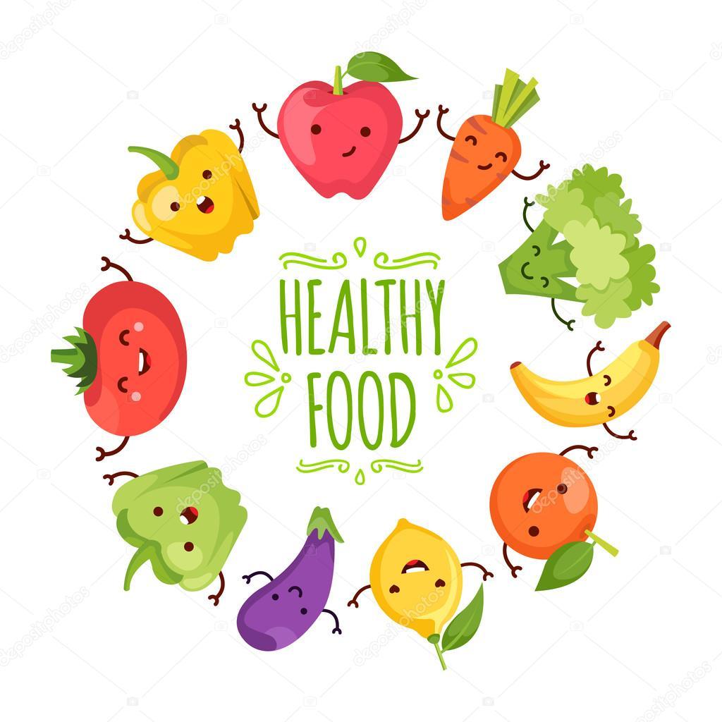 Saludable Alimentos De Dibujos Animados Que Representa Vector De